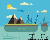 Ecology Concept. Environment, Green Energy and Nature Pollution Design. Oil towers. Flat Style.