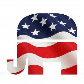 foto of superimpose  - American flag superimposed on the Republican elephant symbol - JPG