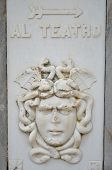 picture of medusa  - italian wall marble sculpture of medusa showing the way to the theatre - JPG