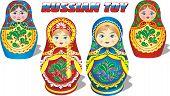 image of doll  - set of Russian toy matryoshka dolls in vector - JPG