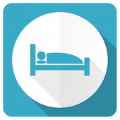 picture of flat-bed  - hotel blue flat icon bed sign  - JPG