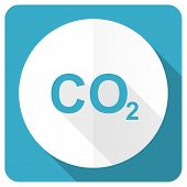 image of carbon-dioxide  - carbon dioxide blue flat icon co2 sign  - JPG