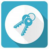 picture of key  - keys blue flat icon   - JPG