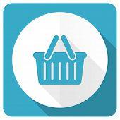 stock photo of cart  - cart blue flat icon shopping cart symbol  - JPG