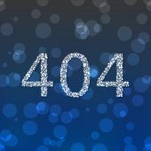 picture of compose  - Number 404 composed of snowflakes on gray blue bokeh background - JPG