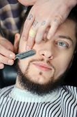 stock photo of barber razor  - Perfect lumberjack beard - JPG
