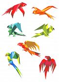 Постер, плакат: Flying colorful parrots in origami style