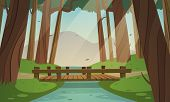 foto of bridge  - Cartoon illustration of the small wooden bridge in the woods - JPG