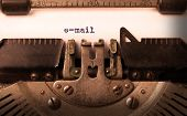 stock photo of old vintage typewriter  - Vintage inscription made by old typewriter e - JPG