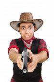 stock photo of wrangler  - Young cowboy isolated on white - JPG