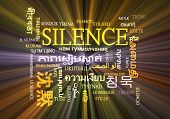 pic of silence  - Background concept wordcloud multilanguage international many language illustration of silence glowing light - JPG