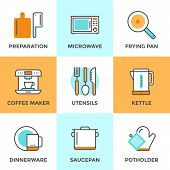 pic of food preparation tools equipment  - Line icons set with flat design elements of kitchen utensils and kitchenware cooking food preparation frying pan microwave oven and coffee machine - JPG