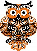 picture of orange-tree  - Owl bird, eagle owl animal, black color, orange patterns, orange bird,