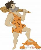 foto of saber-toothed  - Illustration of a caveman with a club in his hands - JPG