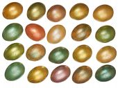 stock photo of priceless  - brightly colored Easter eggs arranged in rows isolated on a white background - JPG