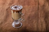 stock photo of latte  - Latte art coffee cup of cappuccino - JPG