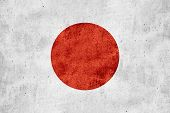 stock photo of japanese flag  - flag of Japan or Japanese banner on rough pattern texture background - JPG