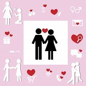 picture of sweethearts  - Design collection of lover couple icon for sweetheart relationship concept - JPG