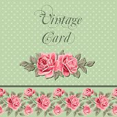 stock photo of shabby chic  - Vintage flower card with roses - JPG