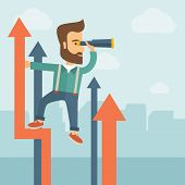 foto of graph  - A businessman with beard stand on top of graph arrow using his telescope looking how high he is - JPG