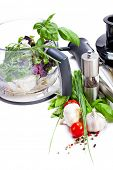 image of blender  - Blender with fresh vegetables and herbs - JPG