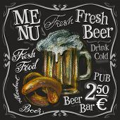 picture of drawing beer  - fresh beer on a black background - JPG