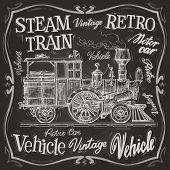 picture of loco  - retro train on a black background - JPG