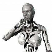 pic of cyborg  - 3D digital render of a thinking female cyborg isolated on white background - JPG