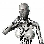 stock photo of cyborg  - 3D digital render of a thinking female cyborg isolated on white background - JPG