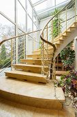 stock photo of ivy  - Beautiful marble stairs with ivy on rails - JPG