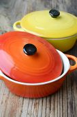 image of pot roast  - Two little colorful cooking pots for julienne - JPG
