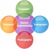 picture of market segmentation  - business strategy concept infographic diagram illustration of market segmentation - JPG