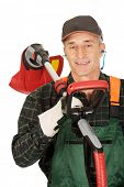 foto of electric trimmer  - Experienced gardener with trimmer and ear protectors - JPG