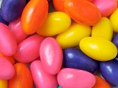 image of easter candy  - Marshmallow eggs in bright colors for Easter candy - JPG