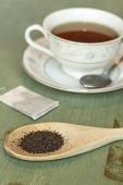 picture of black tea  - British black tea in a dainty tea cup and saucer - JPG