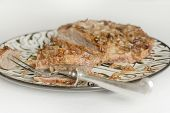 picture of brisket  - Jewish Passover brisket with savory walnut breading sliced and ready to serve - JPG