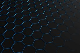 foto of sci-fi  - Abstract 3d rendering of futuristic surface with blue hexagons - JPG