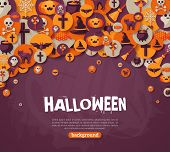 Постер, плакат: Halloween Background Vector Illustration Flat Halloween Icons
