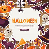 ������, ������: Halloween Background Vector Illustration Flat Halloween Icons