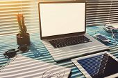 Freelance desktop with accessories and distance work tools poster