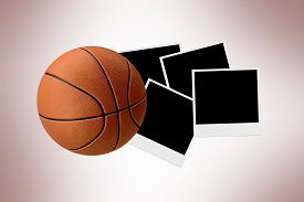 picture of polaroid  - Front view of basketball on polaroid photos on grunge background - JPG