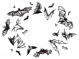 stock photo of vampire bat  - White background with bunch of flying hand pictured charcoal grunge black bats - JPG