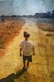 foto of dirt road  - child on the road - JPG