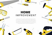 Home Improvement Background With Repair Tools. House Construction Layout. Renovation Backdrop With C poster