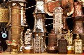 ancient brass pepper mills in souvenir shop in  Mostar, Bosnia and Herzegovina