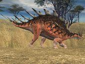 kentrosaurus in savanna
