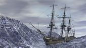 picture of sloop  - ship in ocean storm - JPG