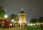 Night scene with water tower in Mannheim Germany