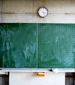 Blackboard and clock in a school