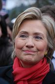 MANCHESTER, NH â?? JAN 8: Closeup of Senator Hillary Clinton campaigning to become the Democratic pa